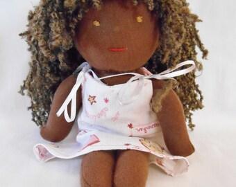 Waldorf skin black cloth doll