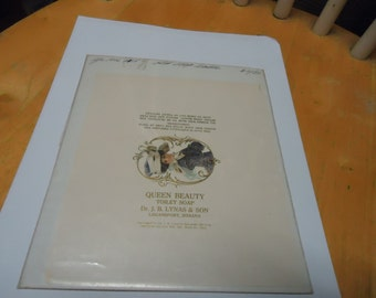 Vintage 1906 Queen Beauty Toilet Soap Advertisement or label in plastic, Logansport, Indiana