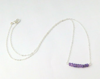 Purple Amethyst Beads on Sterling Silver Bar Necklace - 16 inches