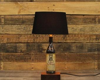 Old Rip Van Winkle Bourbon Bottle Table Lamp, Authentic Bourbon Barrel Char, Reclaimed Wood Base, Bourbon Bottle Desk Lamp, Whiskey Lamp