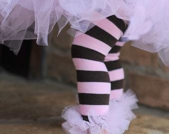 Pink-Brown striped Bunny Legs Girls Ruffled Tutu Leg Warmers - perfect for crawling babys 6m to girls 6X