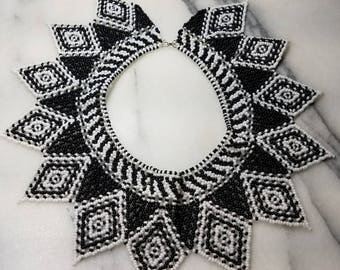 Handmade bead necklace black and white.