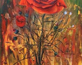 Custom Oil Flower painting on canvas