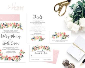 Printable Wedding Invitation Suite / Wedding Invite Set - Into The Garden Suite