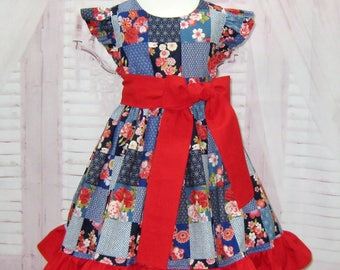 Vintage Style Blue and Red Patchwork Dress, Girl Ruffle Dress, Girl Red Bow Dress, Flutter Sleeve Dress, Girl Holiday Dress, Birthday Dress
