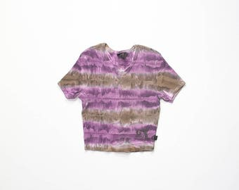1990s Crop Top Cropped Midriff Shirt Ribbed Tie Dye Surfer Skate 90s Hippie T-Shirt Vaporwave GX Baby Tee Grunge Galaxy Space Extra Small
