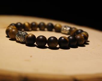 8mm Brown Seed Double Charm Bracelet/Boho Bracelet
