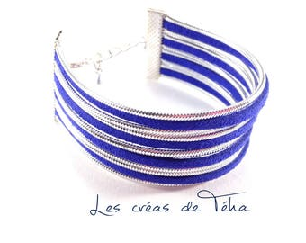 Very pretty silver and royal blue cuff