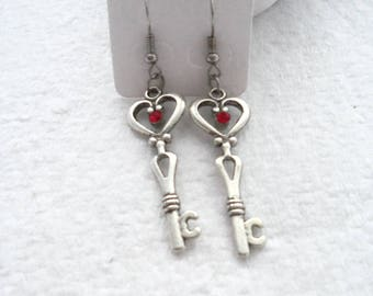 Heart Topped Key Earrings with Siam Chatons (2213)