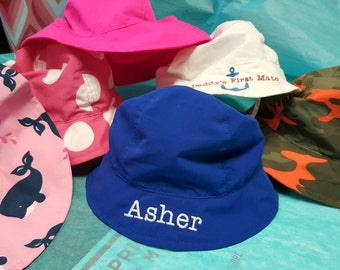 Infant sun hat , personalization included with embroidery, personalized with name, protect from sun UPF 50!  3-12 months age. sizes.