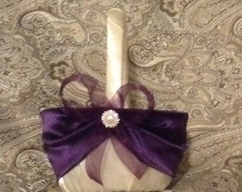 wedding flower girl basket ivory or white with dark purple custom made