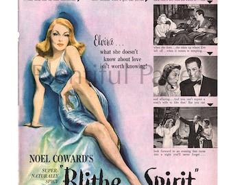 "1946 ""Blithe Spirit"" Vintage Movie Ad, 1940's Movie, Rex Harrison, Advertising Art, Noel Coward, Retro Movie Ad, United Artists."