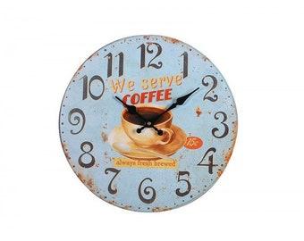 We Serve Coffee Wall Clock