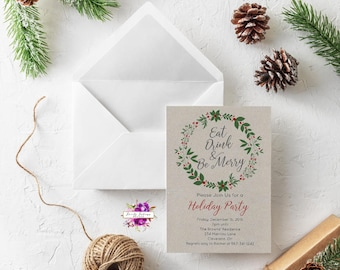 Eat, Drink, & Be Merry - Holiday Christmas Party Invitation - Green and Red Wreath - Printable Invitation - Digital Invitation