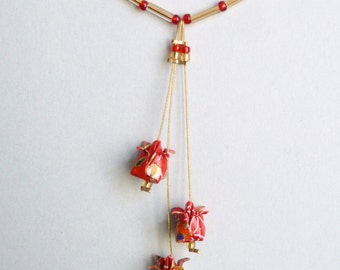 Red, white and gold lotus flower Origami necklace, in folded Japanese Paper