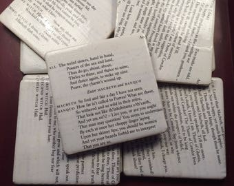 Coaster Macbeth Script pages glow crystals varnish finish Handmade