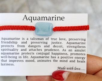 Aquamarine Bracelet Energy bracelet Love talisman Aquamarine jewelry Talisman bracelet Lucky charm Red string Good luck Talisman Gift idea