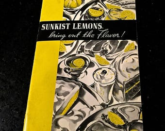 Vintage Sunkist Lemons Recipes, Summer Recipes, Advertising Pamphlet, Recipe Booklet, 1939 Cook Book, California Fruit Growers