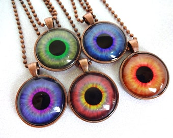 Eye Necklace - Eyeball Necklace - Eye Jewelry Third Eye Pendant Glass - 12 Colors Available - Realistic Human Eyeball Steampunk Gothic