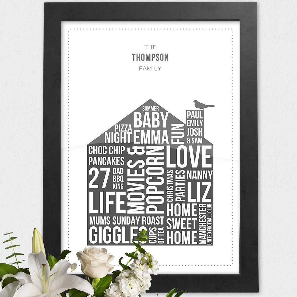 Personalised Family Home Print Custom Our Home Poster Framed