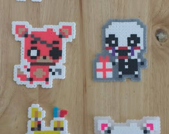 Five Nights at Freddy's - Freddy, Bonnie, Foxy, Chica, Mangle, Puppet, Withered Bonnie, and Springtrap 4.0x3.0 Perler Bead Art Pixel FNAF