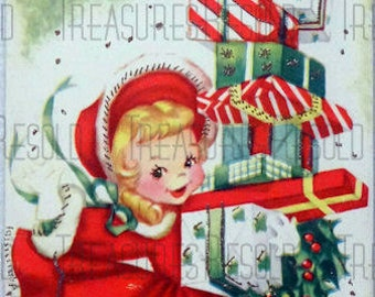 Retro Girl Carrying A Big Stack Of Presents Christmas Card #215 Digital Download