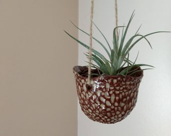 Brown Textured Handmade Ceramic Hanging Plant Pot