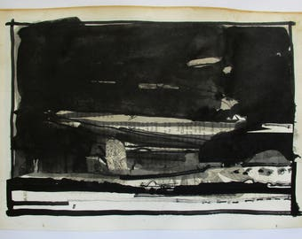 The Black Pictures, Hover, Original India Ink Landscape Drawing on Paper, Stooshinoff