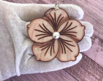 Hawaiian Sterling Silver Shell Flower Pendant