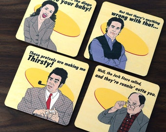 Set of 4 Seinfeld Inspired Wood Coasters, All Natural Wood Drink Coasters in Color