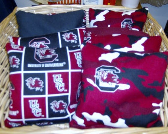 8 PC Double Set Of Corn Hole Game Bags in SC Game Cocks Team Print