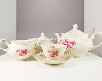 Vintage Royal Mosa Maastricht Tea Set with pink flowers - Dutch pottery - cottage chique - romantic - bridal shower