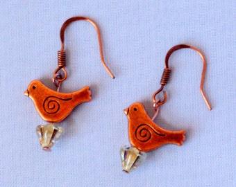 Copper Bird Dangle Earrings