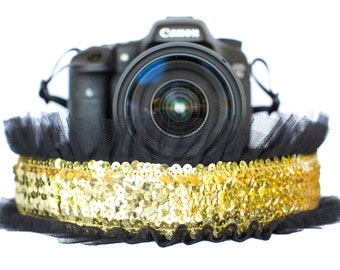 Sequin Camera Strap Gold with Black Tulle