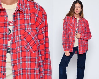 Red Flannel Shirt 90s Blue Plaid Grunge Lumberjack Navy Oversize Long Sleeve Button Up Vintage Lumberjack Cotton Retro White Large