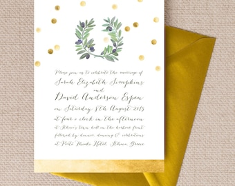 Personalised Olive Wreath Gold and Green Wedding Invitation & RSVP with envelopes