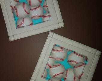 Baseball quilted coasters, sports coasters, ball coasters