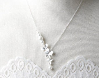 Bridesmaid Orchid Necklace, Bridesmaid Gift, White Wedding Jewelry, Wedding Necklace, Bridal necklace, Delicate Necklace, silver orchid