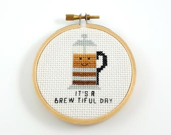 It's a brewtiful day cross stitch pattern, coffee pun, modern cross stitch, coffee pdf pattern, funny cross stitch, beautiful day