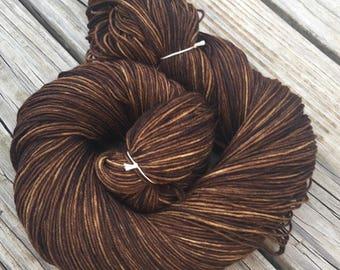 Hand Dyed Sock Yarn Walk the Plank Hand Painted sockyarn 463 yards superwash merino nylon dark brown pirate ship fingering Treasured Toes