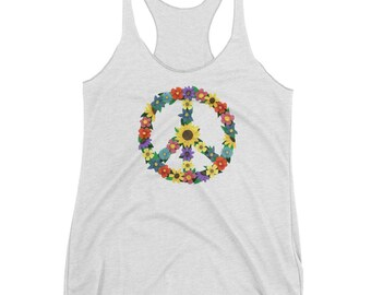 Women's Flower Peace Sign Collage Racerback Tank