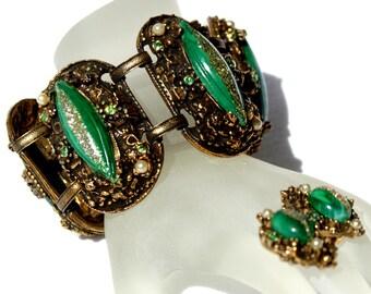 Selro Bracelet Earring Set Green Glitter