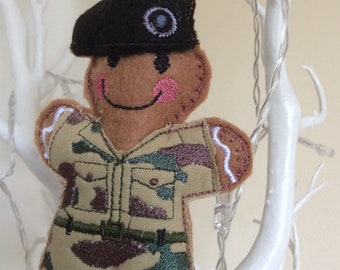 Camouflage gingerbread man Army Soldier, tree ornament/decoration, Military Uniform, squaddie, Uniform, car decor, black beret, gift for him