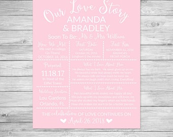 Our Love Story Bridal Shower Printable Sign, Bridal Shower Sign, Wedding Shower Sign, Wedding Sign, Light Pink