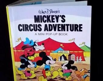 1970's Walt Disney's Mickey's Circus Adventure, A Mini Pop-Up Book, Vintage Children's Book, Excellent Condition