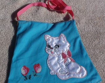 Purse/tote with adorable kitten and flowers