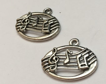 2 pc pewter music notes charm, music charm, jewelry supplies