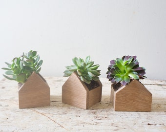 Planter Set of 3 - Tiny Home Plant Box - House Shaped Natural Oak Wood For Succulents Terrarium Air Plant Set