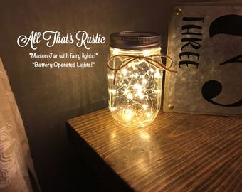 Hanging Mason Jar.Lighted Mason Jars.Mason Jars with Lights.Mason Jar Lights.Fairy Lights.Wedding Decor.Rustic Wedding Decor.Mason Jar Light