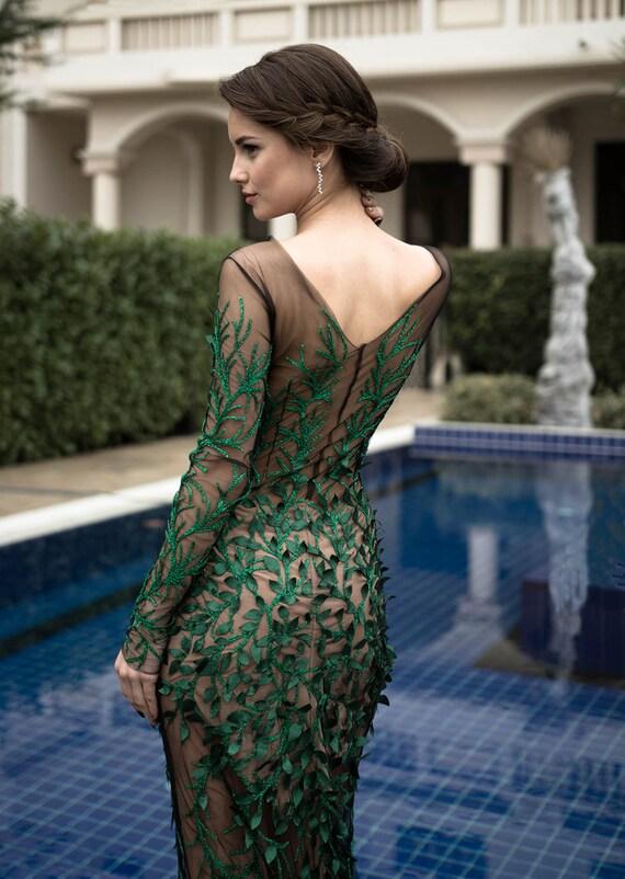 Grüne formale Kleid langes Cocktailkleid Mutter der Braut